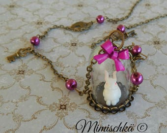 necklace glass dome rabbit alice in wonderland