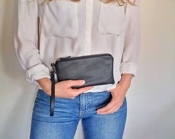 Black leather clutch with wristlet - hand clutch men - small black clutch - car bag men leather - phone clutch