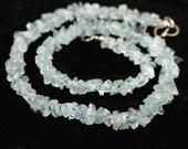 Aquamarine Raw Crystal Beads 8 Inch Ice Blue Semi Precious Gemstones
