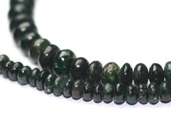 SUMMER SALE Emerald Smooth Rondelles 15 Green Dark Forest Green Precious Gemstone