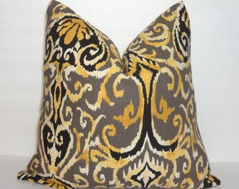 Magnolia Winchester Brown Taupe Black Yellow Ikat Floral Pattern Pillow Cover Couch Cushion 18x18