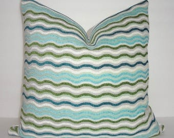Blue Aqua Green Ivory Wavy Geometric Chevron Couch Decor Pillow Cover Throw Pillow Cover 18x18