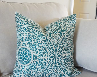 Teal Beige Linen Look Floral Medallion Pillow Cover Home Decor by HomeLiving Throw Pillow Cover 18x18