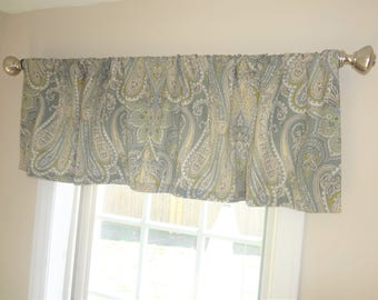 Curtain Valance Topper Window Treatment 52x15 Blue Seafoam Green Ivory Paisley Valance Home Decor
