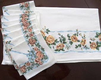 1960s Large Floral Tablecloth with 8 Matching Napkins - Peach Blue Roses Ribbons - Bride Wedding Shower - Collectible Tablecloth - Gift