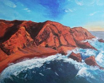 Aerial Beach sunset painting, Portugal coast beach art, red ocean rocks wall decor, Travel Algarve art nautical style, sunset ocean painting
