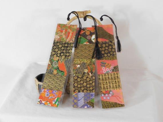Black Series Japanese Washi Paper Laminated Bookmarks with Tassel