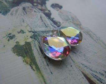Czech Vintage 18x13mm Crystal AB Pear Or Teardrop Doublet Gems 2Pcs.