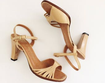 Vintage Tan Pumps// Nude Strappy Sandals // Beige Heels // Made in Brazil // Size 6