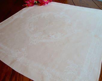 Damask Centerpiece Doily White Square Linen Doily Monogram MR Vintage Table Linens