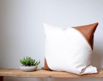 Lumbar Pillow Cover/Ivory/Walnut Leather/Accent Brass Zipper/NEW COLLECTION/Modern/Minimalistic/Stylish Pillow//Zigazag Studio Design