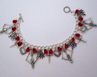 Buffy Vampire inspired vintage style charm bracelet