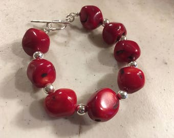 Red Bracelet - Coral Gemstone Jewelry - Sterling Silver Jewellery - Beaded - Chunky