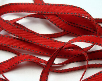 """3/8"""" Grosgrain Ribbon with Side Stitching - Red with Hunter Green Stitching - 25 yard Spool"""