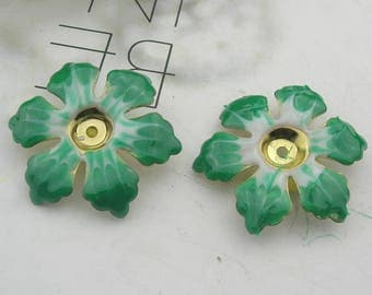 6 pcs Raw Brass Finding Resin Glossy, Green Rose  ( 120300)