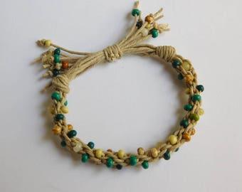Kumihimo Hemp Bracelet with glass beads
