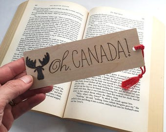 Wood Bookmark. Wood Pyrography. Canada. Moose. Canadian. OOAK Gift. Caribou. Book Nerd.  Book Lover. Unique Bookmark. Book Bag. Library.