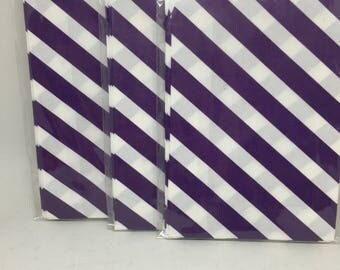 Purple candy bag, purple striped diagonal boot bag, purple and white candy bag, purple striped popcorn bag