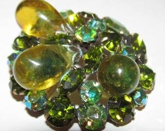 Vintage Regency Green Layered Art Glass Bulbs Floral Brooch