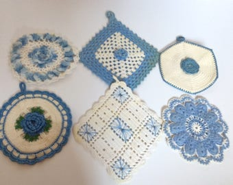 Vintage Blue Crochet Pot Holders - Wall Decor -  Blue Kitchen -Hot Pads - Shabby Cottage Chic - Farmhouse - French Cottage - Country - Roses