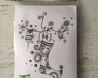 Impression Obsession, io, Stocking with Ornament, by Hannah Davies, K10006, stamp, for cards, scrapbooks, art journals, paper crafts, color