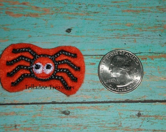 Spider -Small orange felt - Great for Hair Bows, Reels, Clips and Crafts - Itsy Bitsy Halloween or Christmas