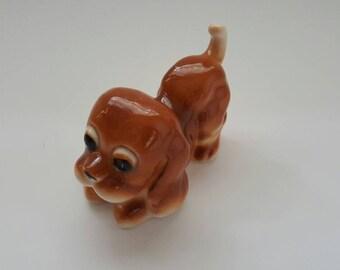 Vintage Ceramic Dog Figurine, Brown Beagle, Occupied Japan
