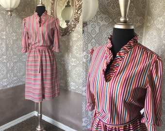 Vintage 1980's Multicolored Striped Dress S/M
