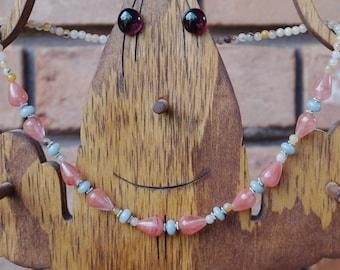 Simple Cherry Quartz, Blue Agate and Orange Agate Necklace