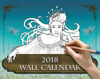 2018 Colorable Wall Calendar