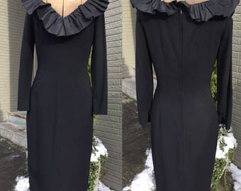 Vintage 1950's-1960's SYDNEY NORTH California Black Dress Ruffle Wiggle LBD S/M