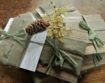 Olive Khaki Cotton Distressed Ribbon - 3 yards -