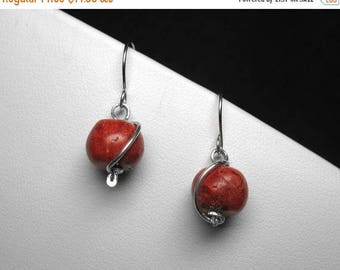 Dyed Bamboo Coral Earrings in Silver