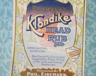 1900 Lovely Victorian Gilded Embossed Lithograph Klondike Head Rub Shampoo Label