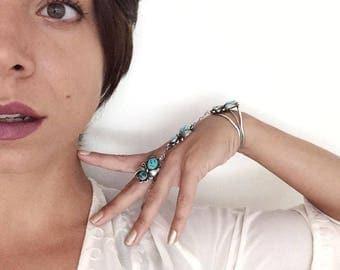 Turquoise Slave Bracelet Ring, Sterling Silver