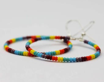 LGBT Rainbow Hoop Earrings Gay Lesbian Pride LGBTQ Jewelry