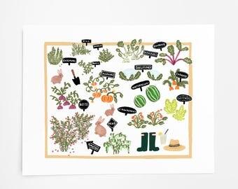Working In the Garden - Art Print - 8x10