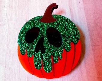 Halloween Poison Pumpkin Glitter Brooch