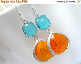 SALE Orange Earrings, Silver Mint Earrings, Tangerine and Mint Earrings, Wedding, Bridesmaid Earrings, Bridal Earrings Jewelry, Bridesmaid G