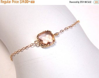 SALE Peach Bracelet, Glass Bracelet, Champagne, Gold Filled Bracelet, Wedding Jewelry, Bridal Jewelry, Bridesmaids Bracelet, Bridesmaid Gift