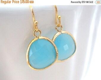 SALE Ocean Blue Earrings, Glass, Gold Blue, Dangle, Light Blue, Aqua, Turquoise, Bridesmaid Earrings, Bridal Earrings Jewelry, Bridesmaid Gi