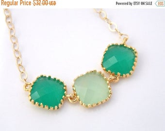 SALE Mint Necklace, Gold Green Necklace, Bridesmaid Jewelry, Bridesmaid Necklace, Gold Filled, Bride Necklace, Bridal Jewelry, Bridesmaid Gi