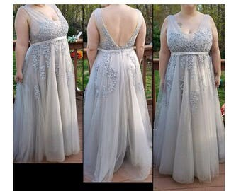 2017 Long Light Gray Bridesmaid Dress, Square Neck Wedding Dress with Lace, A Line Prom Dress, Open Back Formal Dress Floor Length