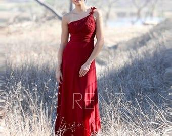 Burgundy Bridesmaid Dress, Long One Shoulder Wedding Dress, Prom Dress Maxi Dress, Womens Formal Dress Rosette Dress Floor Length(T135)