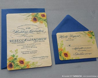 Sunflower Wedding Invitation Sample | Flat, Real Wood, or Pocket Fold Invite | Summer Floral