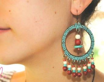 Statement earrings, boho earrings, hoop earrings with semiprecious and glass beads, ethnic earrings, bohemian, boho chic turquoise earrings