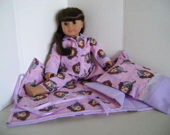 "Handmade  Sleepover in Mauve & Pink fits ""Samantha"" A.G. Doll and all 18"" Dolls"
