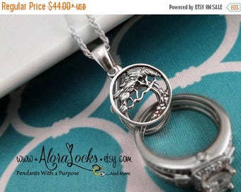 SUMMER SALE AloraLocks Cypress Tree Wide Wedding Ring Holder Pendant - Sterling Silver