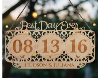 Wooden Wedding Gift - Best Day Ever Sign - Personalized Wedding Sign - Free Shipping