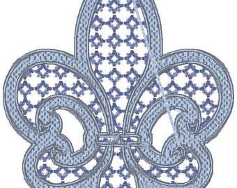 5X7 Fleur De Lis Machine Embroidery Designs for Machine Embroidery. Downloadable formats pes,jef,vp3,sew,vp3